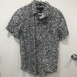 Grey Floral Button Up